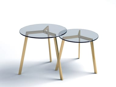 Low round glass and steel coffee table STIL | Glass and steel coffee table