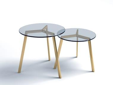 Tavolino basso rotondo in acciaio e vetro STIL | Tavolino in acciaio e vetro