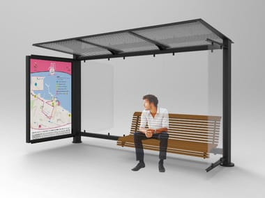 Glass and steel porch for bus stop GLASS