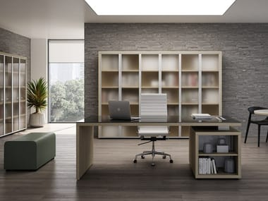 Rectangular office desk with shelves BRERA | Glass office desk