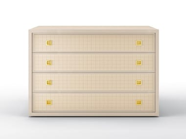 Solid wood chest of drawers with integrated handles GLENN | Chest of drawers