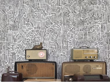 Papel de parede retardante de fogo estilo moderno com motivos GLIFO