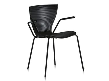 Stackable polypropylene chair with armrests GLORIA | Chair with armrests