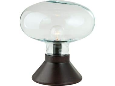 Lampada da tavolo in legno e vetro GLOW