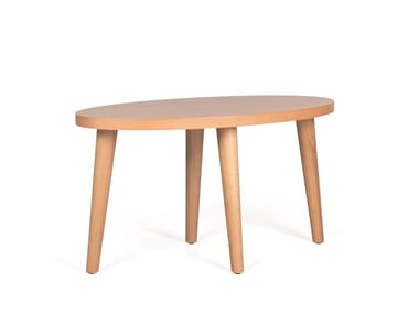 Oval wooden coffee table GOMO SIDE OVAL H45