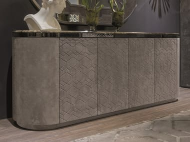 Leather sideboard with doors GORDON | Leather sideboard