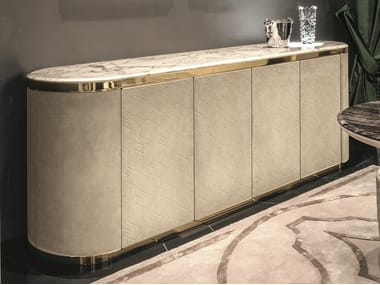 Leather sideboard with integrated lighting GORDON | Sideboard with integrated lighting
