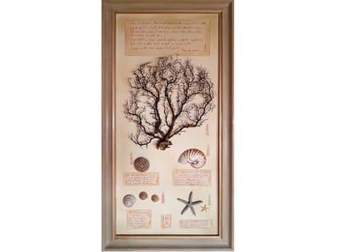 Quadro con conchiglie naturali e cornice in legno GORGONIA E CONCHIGLIE - 504 PK
