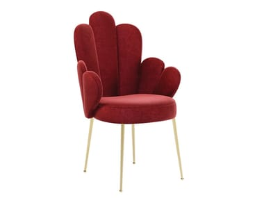 Upholstered fabric chair with armrests GRACE | Chair with armrests