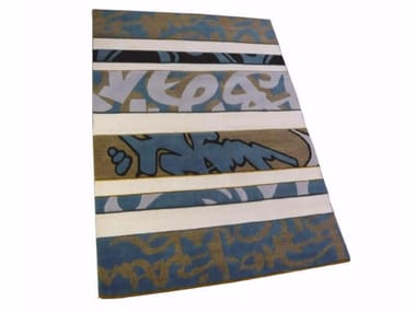 Patterned handmade rectangular rug GRAFFITI