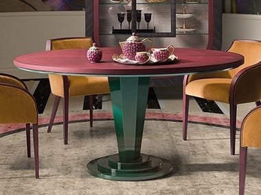 Lacquered round wooden table GRAN DUCA | Round table