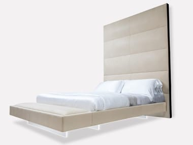 Nabuk king size bed with high headboard GRAN HEAVEN | Bed with high headboard