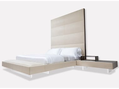 Nabuk king size bed with integrated nightstands GRAN HEAVEN | Bed with integrated nightstands
