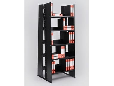 Open double-sided painted metal bookcase GRAN LIVORNO SELF-STANDING