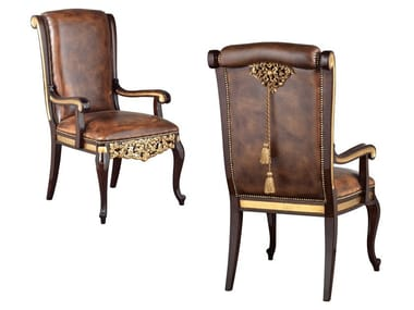 Upholstered leather chair with armrests GRAND ROYAL | Leather chair