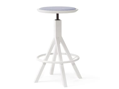Height-adjustable metal stool with footrest GRAPEVINE | Height-adjustable stool