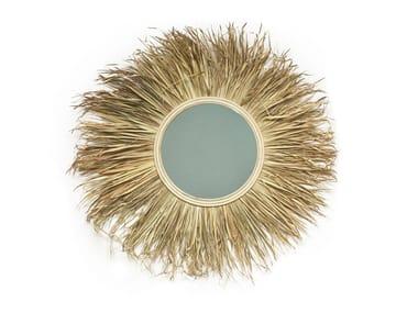 Round wall-mounted rattan mirror GRASS MIRROR