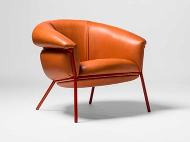 Leather armchair with armrests GRASSO | Leather armchair