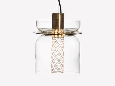 Lampada a sospensione a LED in ottone e vetro soffiato GREENWAY S5