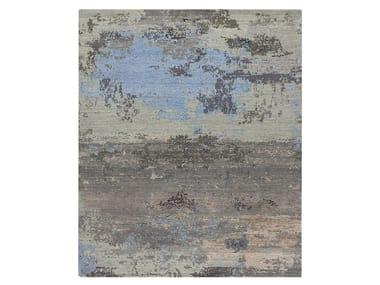 Handmade custom rug GRUNGE SEA BLUE