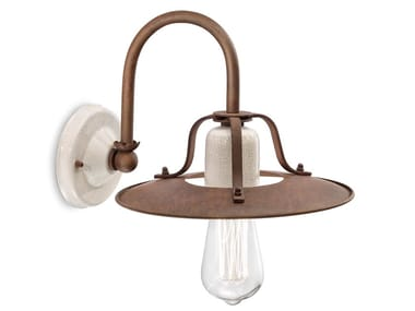 Metal and ceramic wall light with fixed arm GRUNGE | Wall light