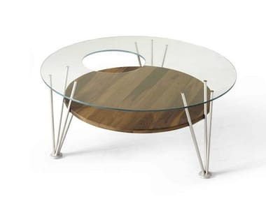 Mesa de centro redonda de madeira e vidro H-121 | Mesa de centro