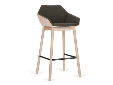 High upholstered fabric stool with armrests H-TUK-W
