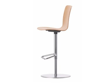 Swivel wooden barstool with footrest HAL PLY BARSTOOL