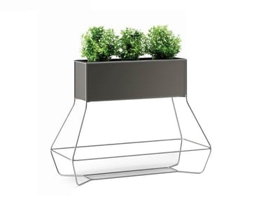 High rectangular plastic planter HALFUL | Planter