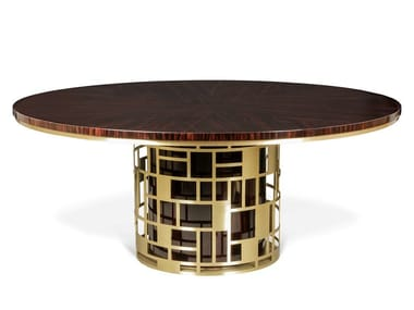 Round brass and ebony dining table HALT