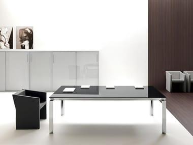 Rectangular glass meeting table HAN | Glass meeting table