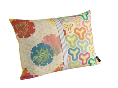 Motif rectangular fabric cushion with removable cover HANAGAME | Rectangular cushion