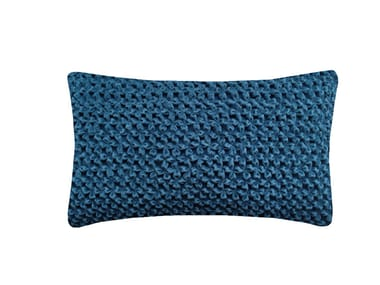 Rectangular hand embroidered cushion HAND STITCHED FLOWER TEAL