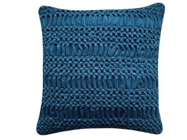 Square hand embroidered cushion HAND STITCHED STRIPED FLOWER TEAL