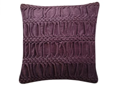 Square hand embroidered cushion HAND STITCHED STRIPED WAVE EGGPLANT