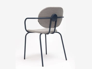 Steel chair with armrests with integrated cushion HARI | Chair with armrests