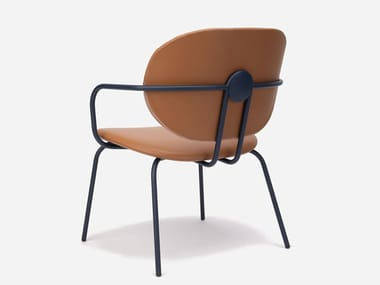 Leather chair with armrests with integrated cushion HARI XL | Chair with integrated cushion