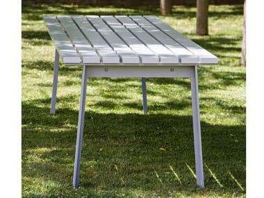 Galvanized steel painted bench with extruded aluminium HARPO | Aluminium Table for public areas