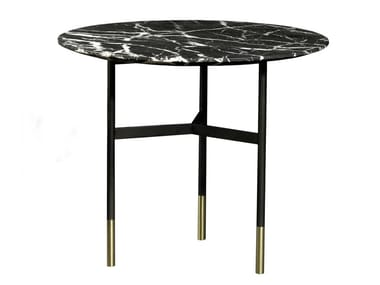 Round Nero Marquina marble coffee table HARRI   High side table
