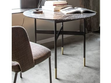 Round Nero Marquina marble table HARRI   Marble table