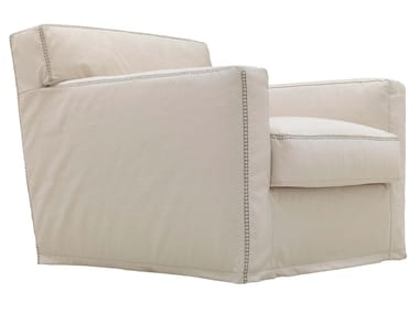 Fabric armchair with removable cover with armrests HAVANA