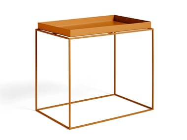 Rectangular steel side table with tray HAY - TRAY TABLE L TOFFEE