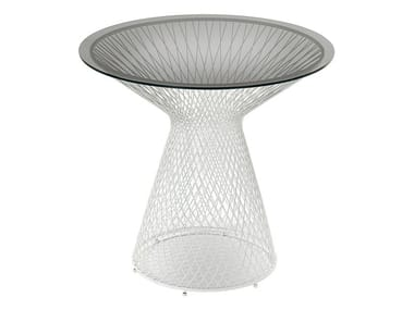 Round crystal and steel garden table HEAVEN | Round table