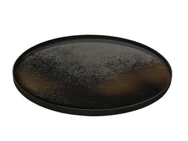 Round wooden tray HEAVY AGED BRONZE MIRROR | Tray