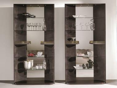 Open leather shelving unit HENNESY | Shelving unit