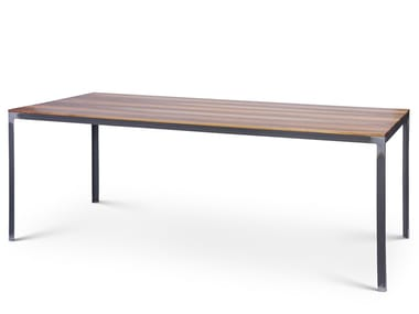 Rectangular steel and wood table HERR WAGNER