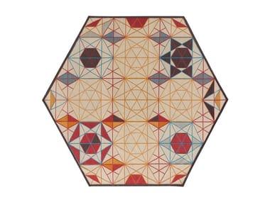 Wool rug with geometric shapes HEXA