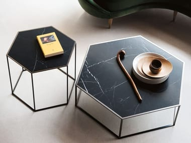 Hexagonal Nero Marquina marble coffee table HEXAGON | Hexagonal coffee table
