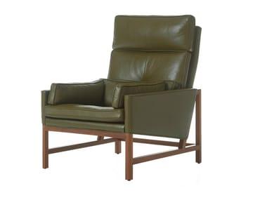 High-back leather armchair WOOD FRAME LOUNGE | High-back armchair