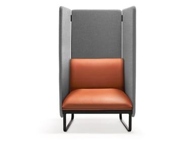 Sled base high-back leather armchair LOFT X | High-back armchair